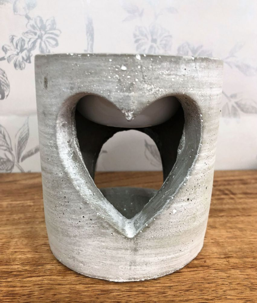 Grey Concrete Industrial Style Heart Wax Melt | Oil Burner Pot